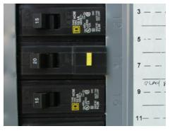 Circuit breakers in a service panel